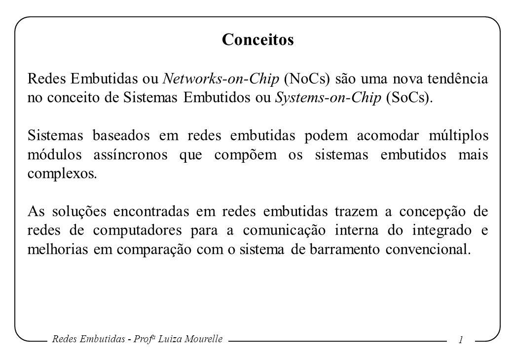 Redes Embutidas - Prof a Luiza Mourelle 1 Conceitos Redes Embutidas ou Networks-on-Chip (NoCs) são uma nova tendência no conceito de Sistemas Embutidos ou Systems-on-Chip (SoCs).