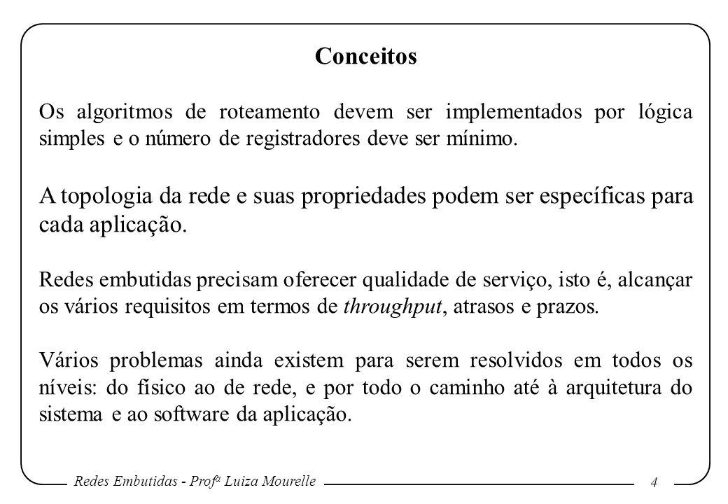 Redes Embutidas - Prof a Luiza Mourelle 4 Conceitos Os algoritmos de roteamento devem ser implementados por lógica simples e o número de registradores deve ser mínimo.