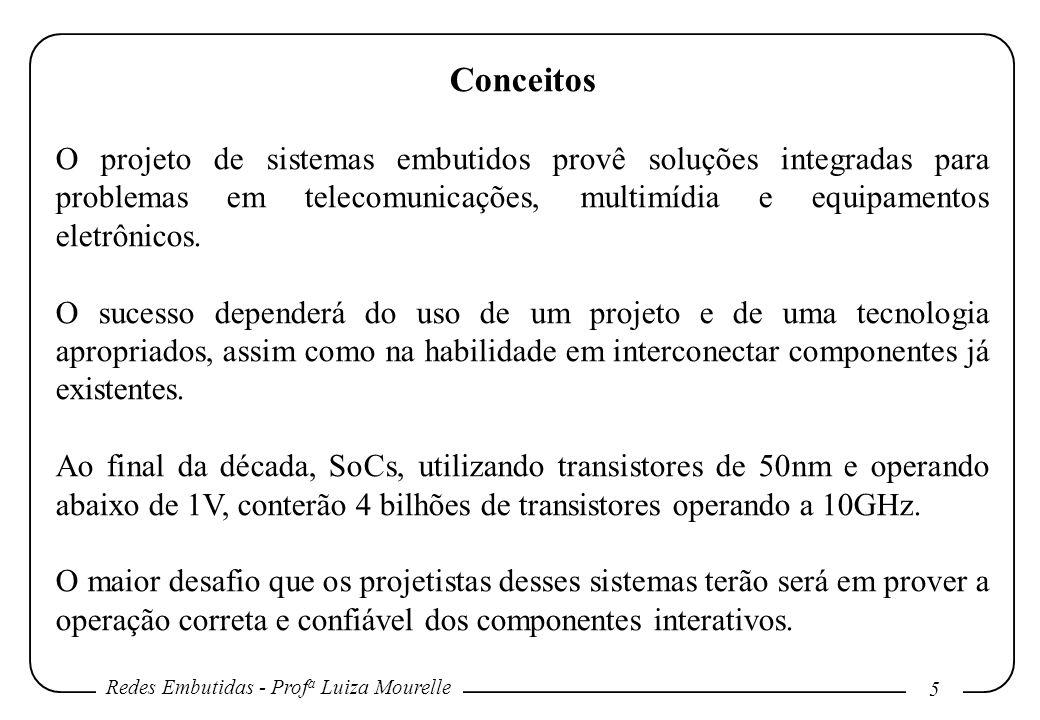 Redes Embutidas - Prof a Luiza Mourelle 5 Conceitos O projeto de sistemas embutidos provê soluções integradas para problemas em telecomunicações, multimídia e equipamentos eletrônicos.