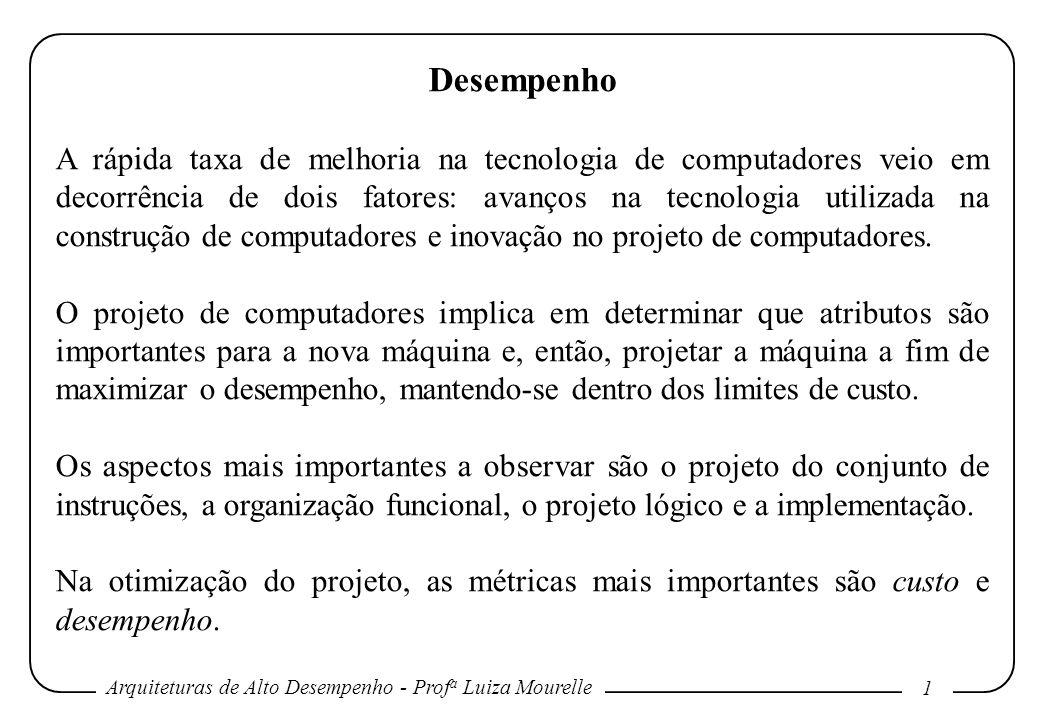 Arquiteturas de Alto Desempenho - Prof a Luiza Mourelle 1 Desempenho A rápida taxa de melhoria na tecnologia de computadores veio em decorrência de do