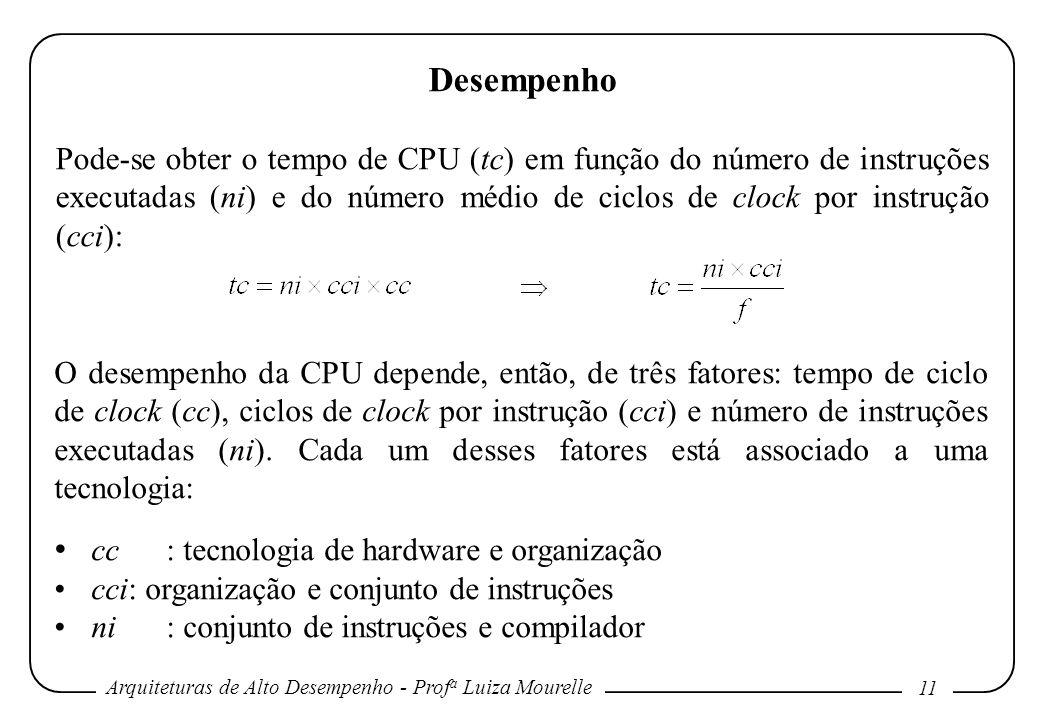 Arquiteturas de Alto Desempenho - Prof a Luiza Mourelle 11 Desempenho Pode-se obter o tempo de CPU (tc) em função do número de instruções executadas (
