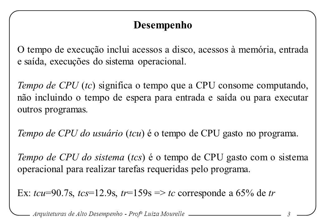 Arquiteturas de Alto Desempenho - Prof a Luiza Mourelle 4 Desempenho Desempenho do sistema é utilizado para se referir ao tempo de resposta em um sistema não carregado.