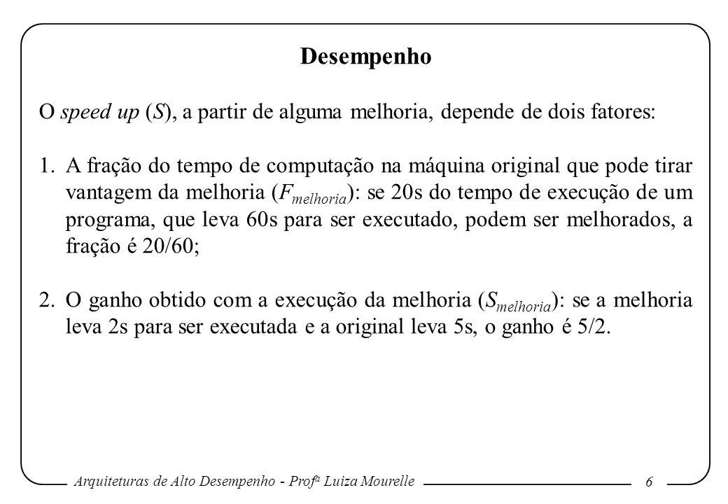 Arquiteturas de Alto Desempenho - Prof a Luiza Mourelle 6 Desempenho O speed up (S), a partir de alguma melhoria, depende de dois fatores: 1.A fração
