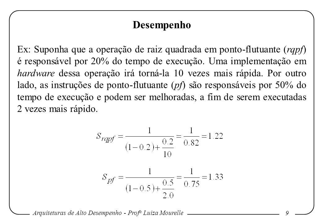 Arquiteturas de Alto Desempenho - Prof a Luiza Mourelle 9 Desempenho Ex: Suponha que a operação de raiz quadrada em ponto-flutuante (rqpf) é responsáv