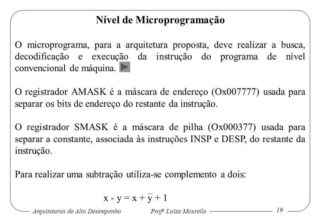 Arquiteturas de Alto DesempenhoProf a Luiza Mourelle 19 Nível de Microprogramação O microprograma, para a arquitetura proposta, deve realizar a busca,