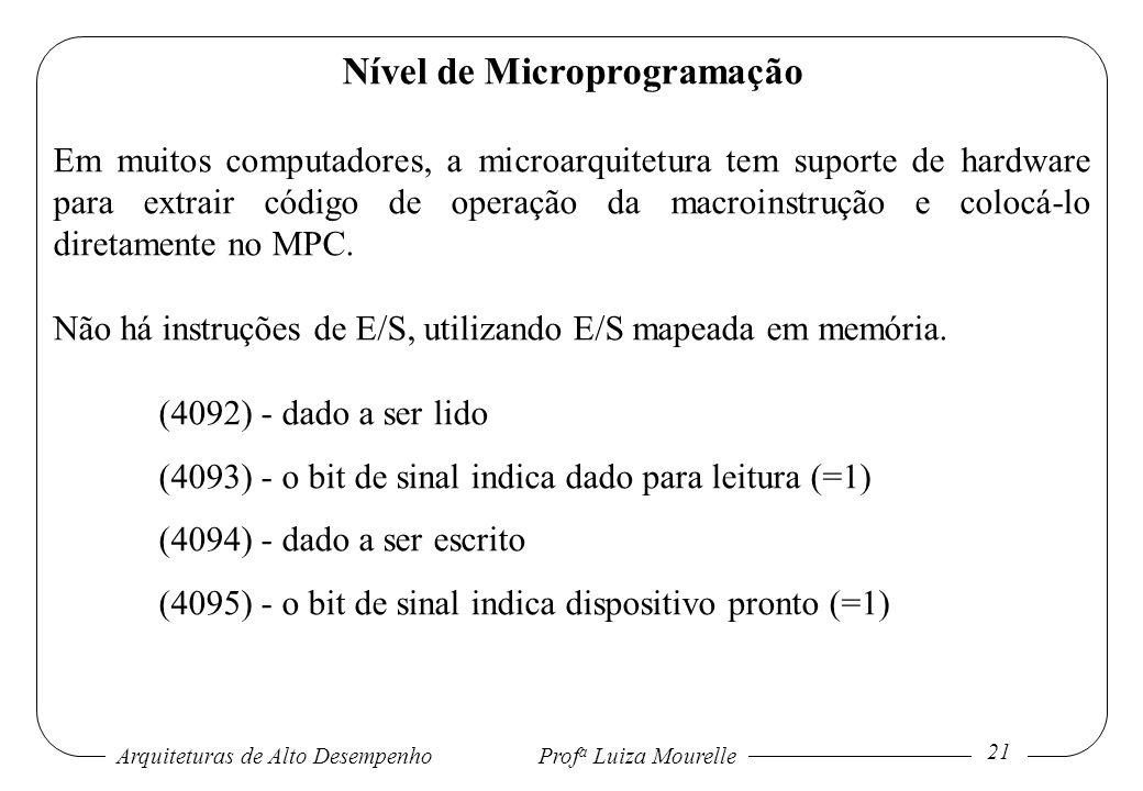 Arquiteturas de Alto DesempenhoProf a Luiza Mourelle 21 Nível de Microprogramação Em muitos computadores, a microarquitetura tem suporte de hardware p