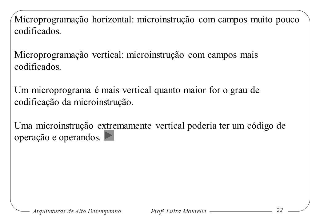 Arquiteturas de Alto DesempenhoProf a Luiza Mourelle 22 Microprogramação horizontal: microinstrução com campos muito pouco codificados. Microprogramaç