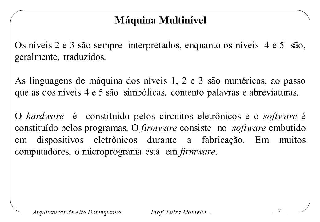 Arquiteturas de Alto DesempenhoProf a Luiza Mourelle 7 Máquina Multinível Os níveis 2 e 3 são sempre interpretados, enquanto os níveis 4 e 5 são, gera