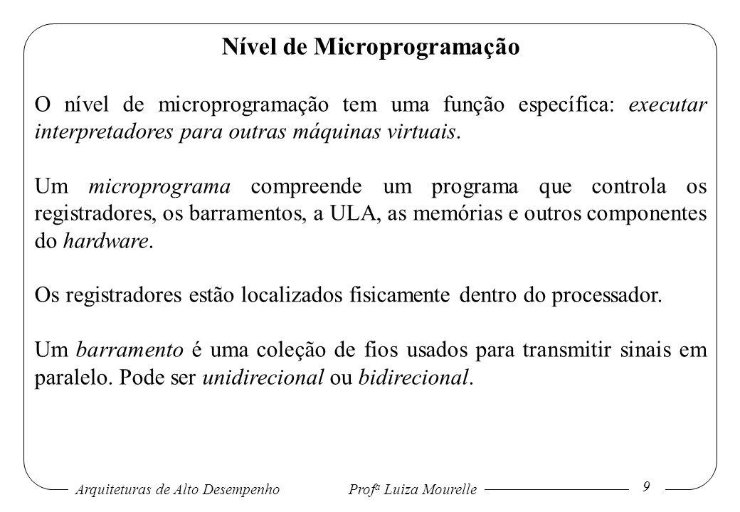 Arquiteturas de Alto DesempenhoProf a Luiza Mourelle 9 Nível de Microprogramação O nível de microprogramação tem uma função específica: executar inter