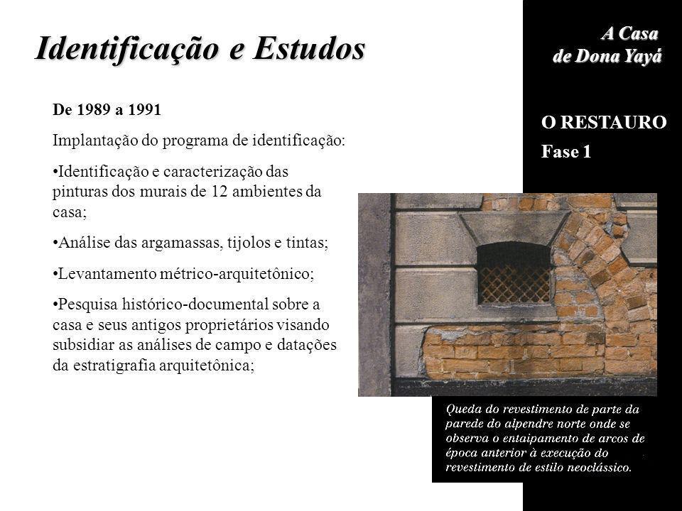 O RESTAURO Fase 1 A Casa de Dona Yayá Identificação e Estudos De 1989 a 1991 Implantação do programa de identificação: Identificação e caracterização