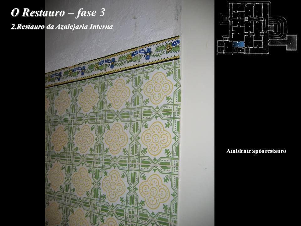 O Restauro – fase 3 2.Restauro da Azulejaria Interna Ambiente após restauro