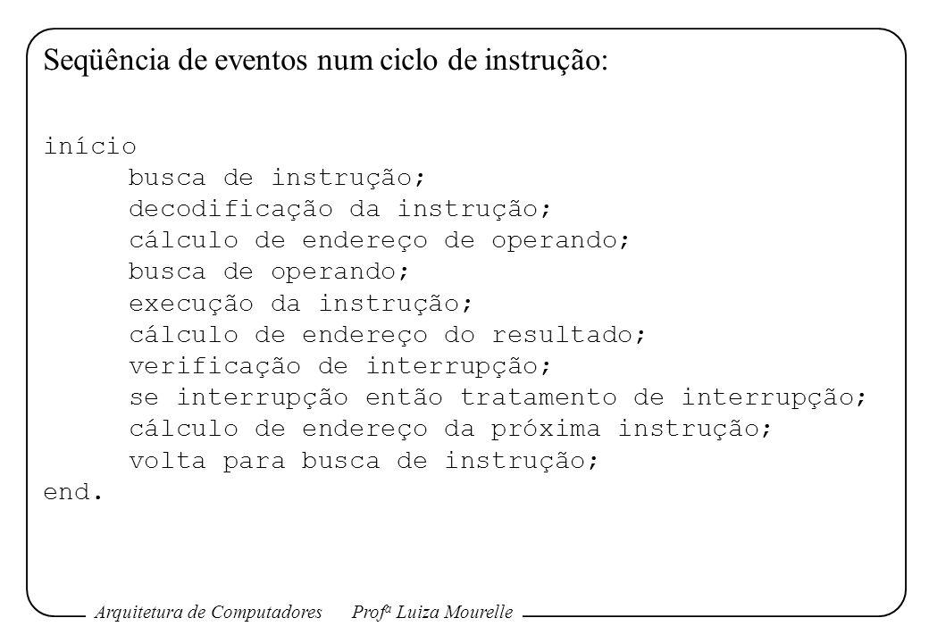 Arquitetura de ComputadoresProf a Luiza Mourelle Seqüência de eventos num ciclo de instrução: início busca de instrução; decodificação da instrução; c