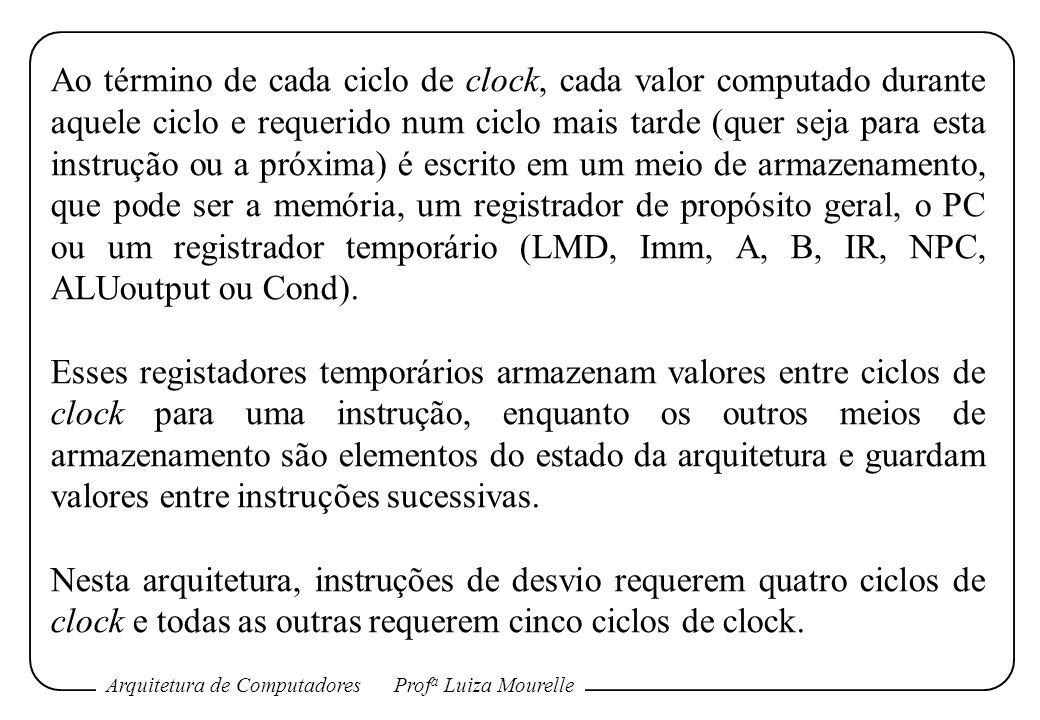 Arquitetura de ComputadoresProf a Luiza Mourelle Ao término de cada ciclo de clock, cada valor computado durante aquele ciclo e requerido num ciclo ma