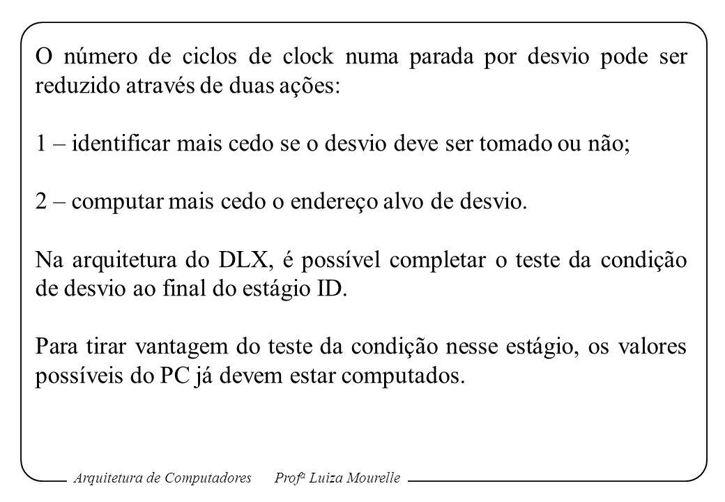 Arquitetura de ComputadoresProf a Luiza Mourelle O número de ciclos de clock numa parada por desvio pode ser reduzido através de duas ações: 1 – ident
