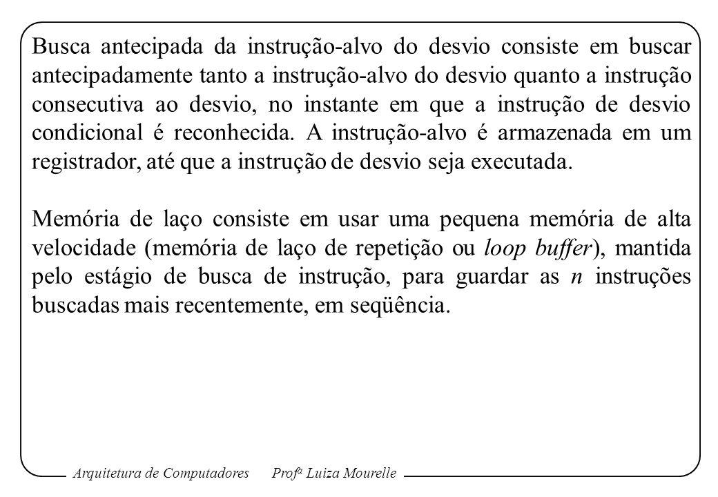 Arquitetura de ComputadoresProf a Luiza Mourelle Busca antecipada da instrução-alvo do desvio consiste em buscar antecipadamente tanto a instrução-alv