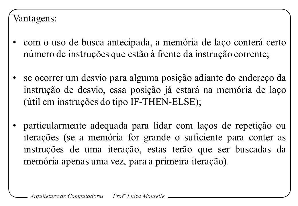 Arquitetura de ComputadoresProf a Luiza Mourelle Vantagens: com o uso de busca antecipada, a memória de laço conterá certo número de instruções que es