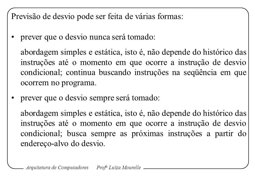 Arquitetura de ComputadoresProf a Luiza Mourelle Previsão de desvio pode ser feita de várias formas: prever que o desvio nunca será tomado: abordagem