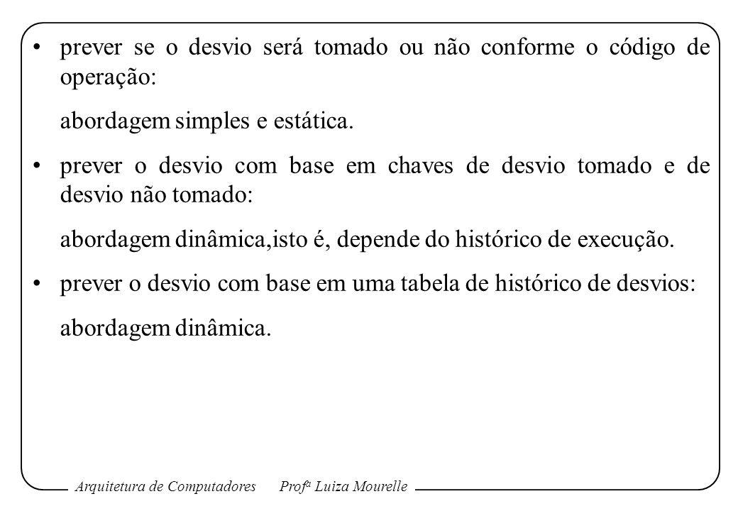Arquitetura de ComputadoresProf a Luiza Mourelle prever se o desvio será tomado ou não conforme o código de operação: abordagem simples e estática. pr