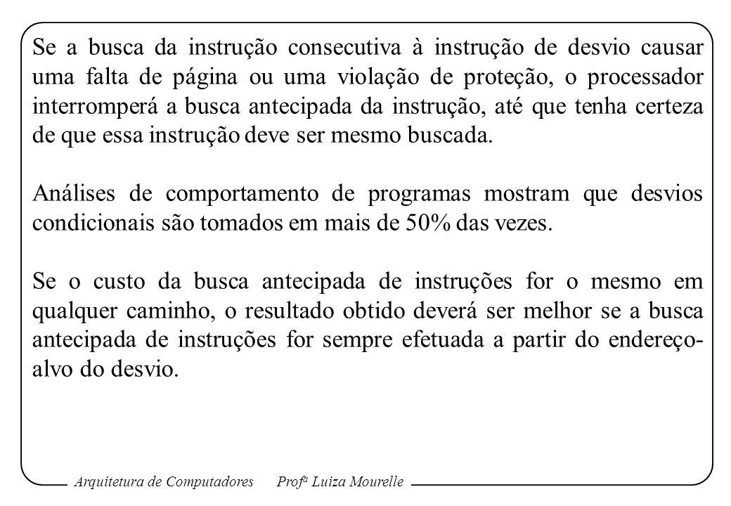 Arquitetura de ComputadoresProf a Luiza Mourelle Se a busca da instrução consecutiva à instrução de desvio causar uma falta de página ou uma violação