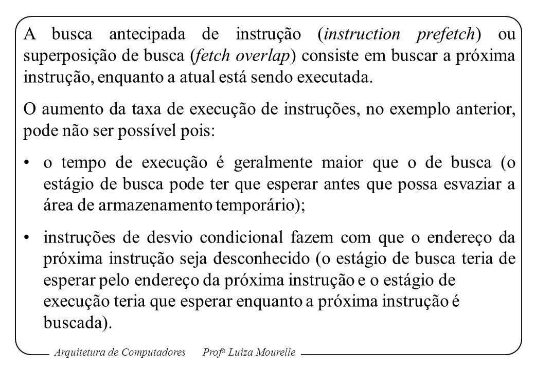 Arquitetura de ComputadoresProf a Luiza Mourelle A busca antecipada de instrução (instruction prefetch) ou superposição de busca (fetch overlap) consi