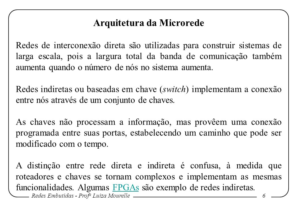 Redes Embutidas - Prof a Luiza Mourelle 17 Arquitetura da Microrede Métodos determinísticos tem a desvantagem de serem baseados no pior caso e geralmente levam a subutilização dos recursos da rede.