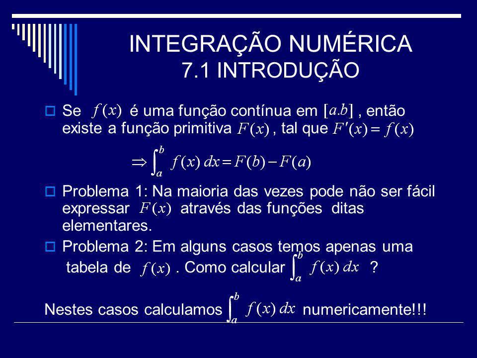 INTEGRAÇÃO NUMÉRICA 7.1 INTRODUÇÃO Se é uma função contínua em, então existe a função primitiva, tal que Problema 1: Na maioria das vezes pode não ser