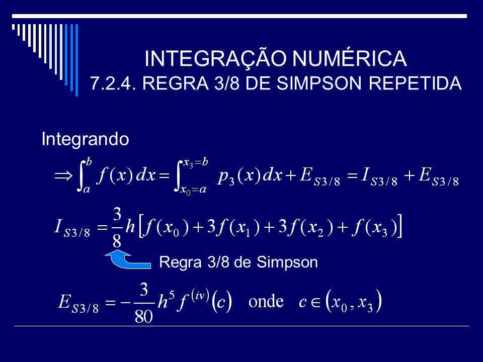 INTEGRAÇÃO NUMÉRICA 7.2.4. REGRA 3/8 DE SIMPSON REPETIDA Integrando Regra 3/8 de Simpson