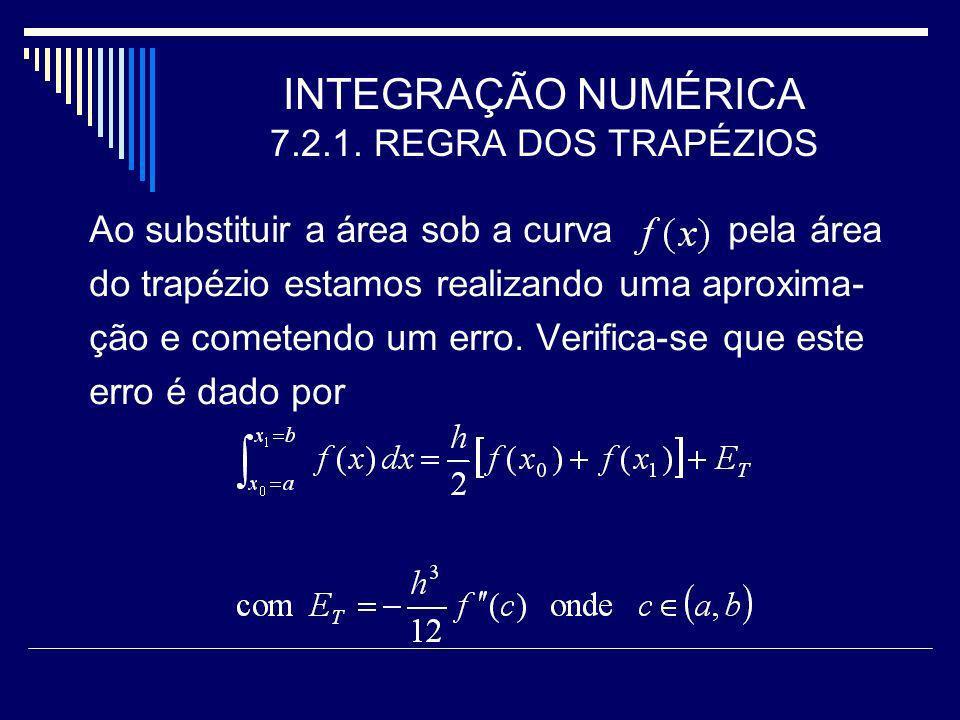 INTEGRAÇÃO NUMÉRICA 7.2.1. REGRA DOS TRAPÉZIOS Ao substituir a área sob a curva pela área do trapézio estamos realizando uma aproxima- ção e cometendo