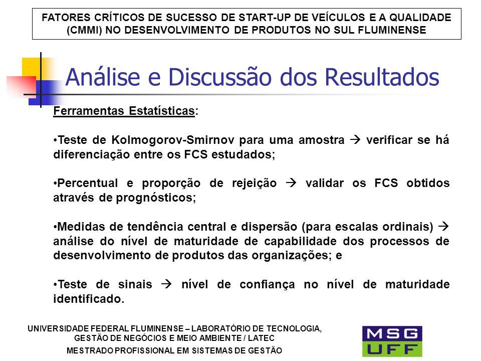 UNIVERSIDADE FEDERAL FLUMINENSE – LABORATÓRIO DE TECNOLOGIA, GESTÃO DE NEGÓCIOS E MEIO AMBIENTE / LATEC MESTRADO PROFISSIONAL EM SISTEMAS DE GESTÃO FATORES CRÍTICOS DE SUCESSO DE START-UP DE VEÍCULOS E A QUALIDADE (CMMI) NO DESENVOLVIMENTO DE PRODUTOS NO SUL FLUMINENSE Ferramentas Estatísticas: Teste de Kolmogorov-Smirnov para uma amostra verificar se há diferenciação entre os FCS estudados; Percentual e proporção de rejeição validar os FCS obtidos através de prognósticos; Medidas de tendência central e dispersão (para escalas ordinais) análise do nível de maturidade de capabilidade dos processos de desenvolvimento de produtos das organizações; e Teste de sinais nível de confiança no nível de maturidade identificado.