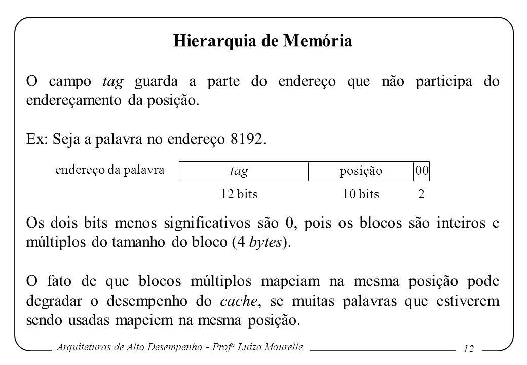 Arquiteturas de Alto Desempenho - Prof a Luiza Mourelle 12 Hierarquia de Memória O campo tag guarda a parte do endereço que não participa do endereçam