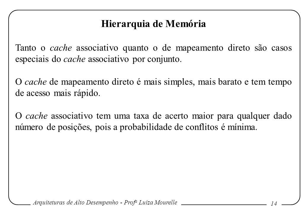 Arquiteturas de Alto Desempenho - Prof a Luiza Mourelle 14 Hierarquia de Memória Tanto o cache associativo quanto o de mapeamento direto são casos esp