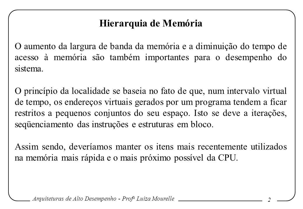 Arquiteturas de Alto Desempenho - Prof a Luiza Mourelle 2 Hierarquia de Memória O aumento da largura de banda da memória e a diminuição do tempo de ac
