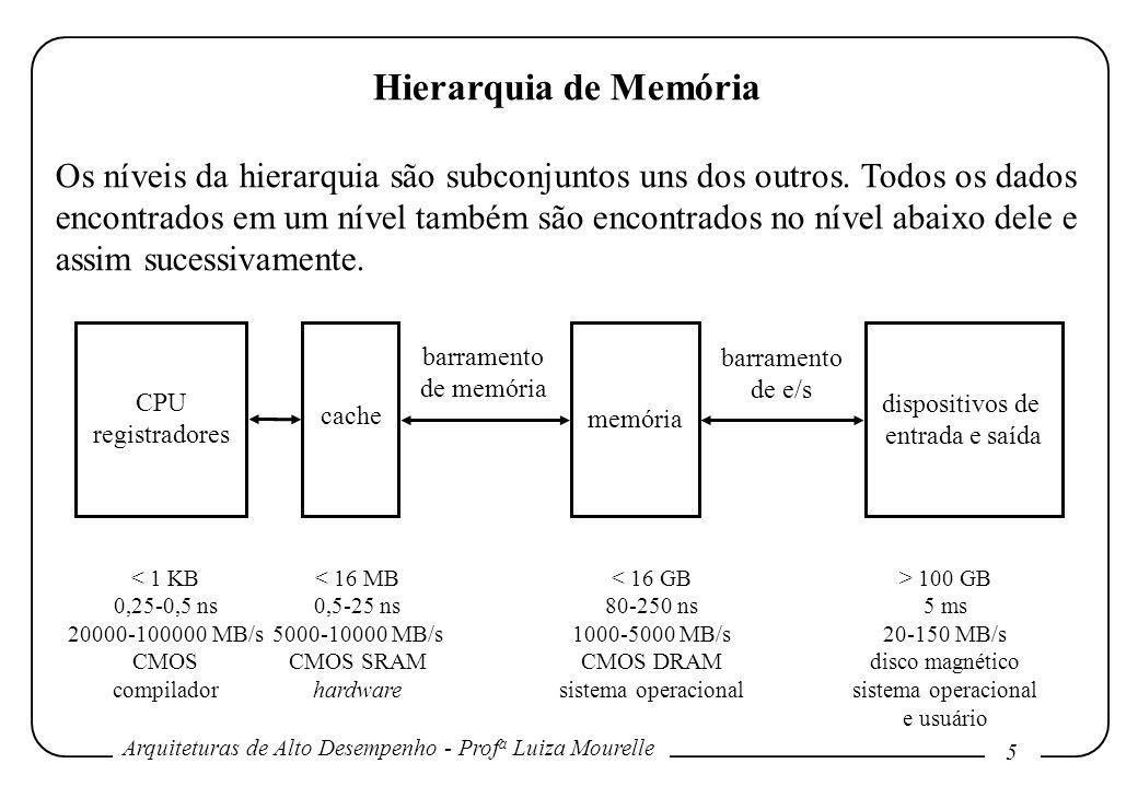 Arquiteturas de Alto Desempenho - Prof a Luiza Mourelle 5 Hierarquia de Memória Os níveis da hierarquia são subconjuntos uns dos outros. Todos os dado