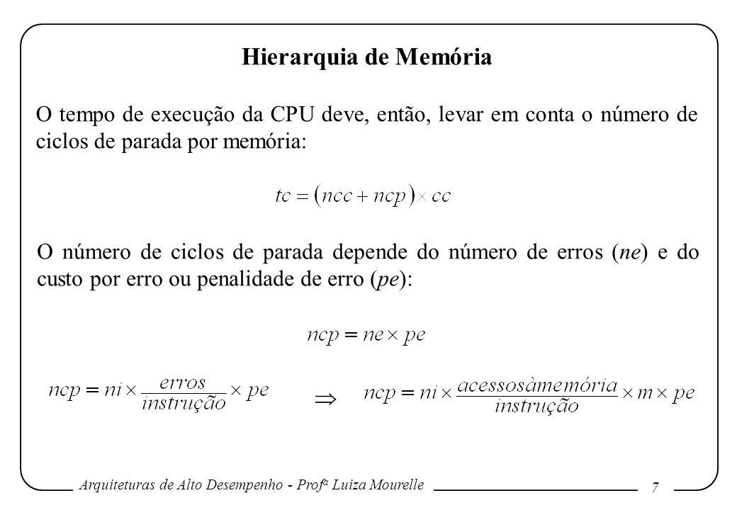 Arquiteturas de Alto Desempenho - Prof a Luiza Mourelle 7 Hierarquia de Memória O tempo de execução da CPU deve, então, levar em conta o número de cic