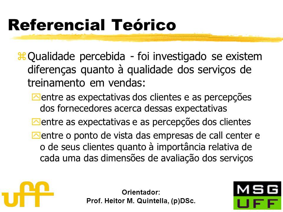 Orientador: Prof. Heitor M. Quintella, (p)DSc. Referencial Teórico zQualidade percebida - foi investigado se existem diferenças quanto à qualidade dos