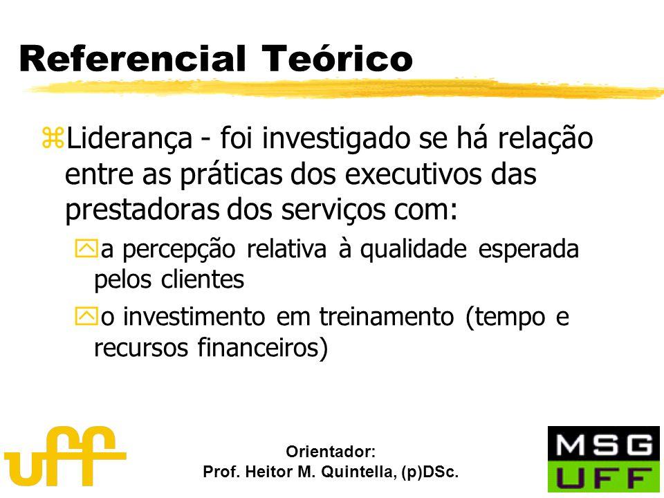 Orientador: Prof. Heitor M. Quintella, (p)DSc. Referencial Teórico zLiderança - foi investigado se há relação entre as práticas dos executivos das pre