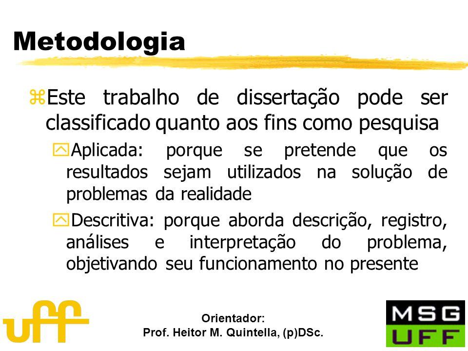 Orientador: Prof. Heitor M. Quintella, (p)DSc. Metodologia zEste trabalho de dissertação pode ser classificado quanto aos fins como pesquisa yAplicada