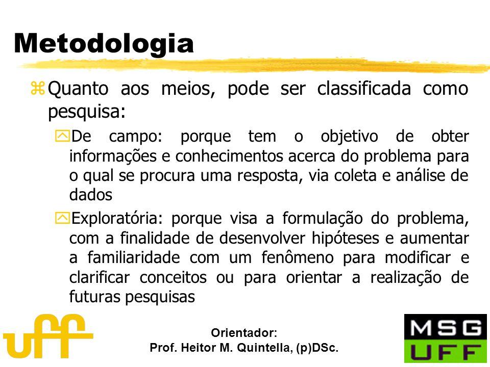 Orientador: Prof. Heitor M. Quintella, (p)DSc. Metodologia zQuanto aos meios, pode ser classificada como pesquisa: yDe campo: porque tem o objetivo de