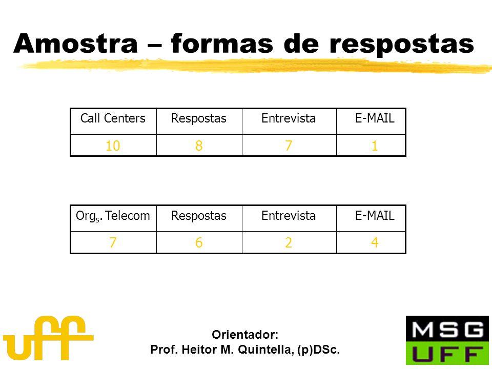 Orientador: Prof. Heitor M. Quintella, (p)DSc. Amostra – formas de respostas 17810 E-MAILEntrevistaRespostasCall Centers 4267 E-MAILEntrevistaResposta