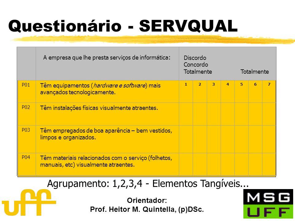 Orientador: Prof. Heitor M. Quintella, (p)DSc. A empresa que lhe presta serviços de informática : Discordo Concordo Totalmente P01 Têm equipamentos (h