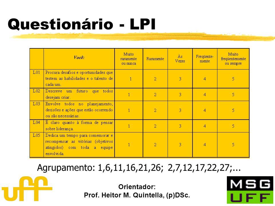 Orientador: Prof. Heitor M. Quintella, (p)DSc. Questionário - LPI Agrupamento: 1,6,11,16,21,26; 2,7,12,17,22,27;...