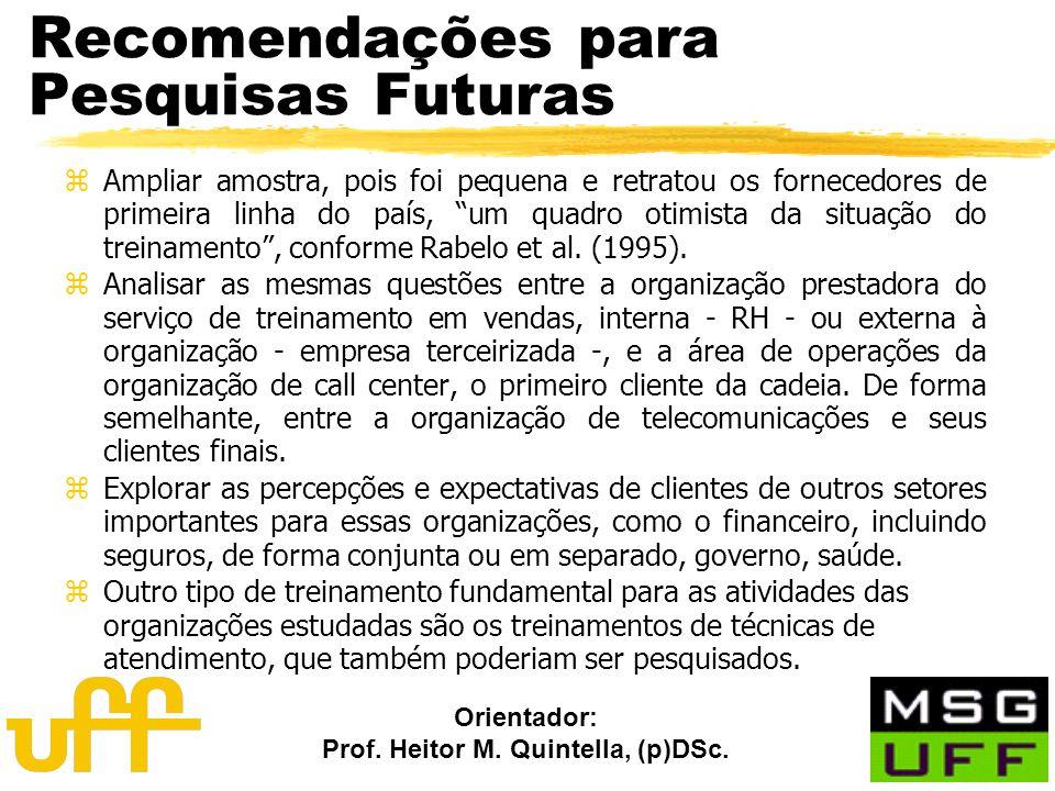 Orientador: Prof. Heitor M. Quintella, (p)DSc. Recomendações para Pesquisas Futuras zAmpliar amostra, pois foi pequena e retratou os fornecedores de p