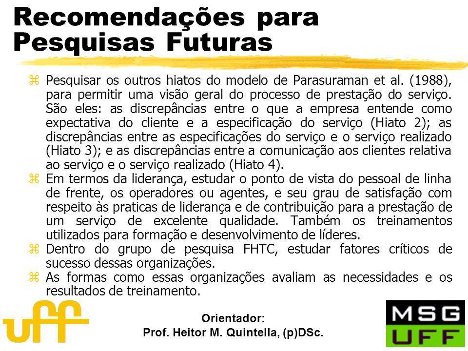 Orientador: Prof. Heitor M. Quintella, (p)DSc. Recomendações para Pesquisas Futuras zPesquisar os outros hiatos do modelo de Parasuraman et al. (1988)
