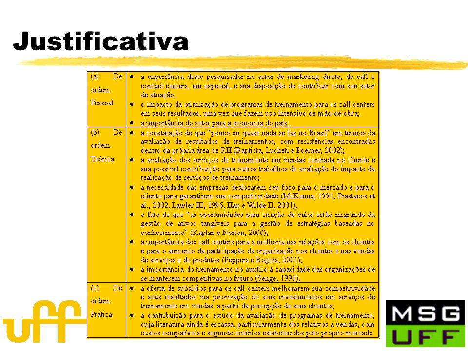 Orientador: Prof. Heitor M. Quintella, (p)DSc. Justificativa