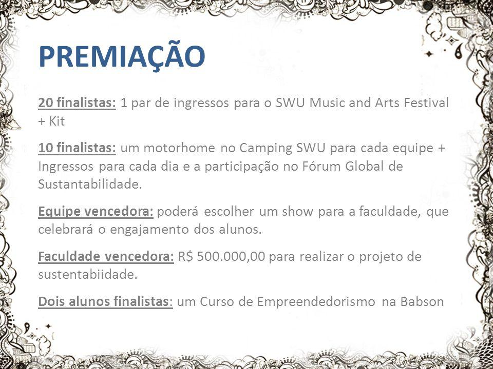 PREMIAÇÃO 20 finalistas: 1 par de ingressos para o SWU Music and Arts Festival + Kit 10 finalistas: um motorhome no Camping SWU para cada equipe + Ingressos para cada dia e a participação no Fórum Global de Sustantabilidade.