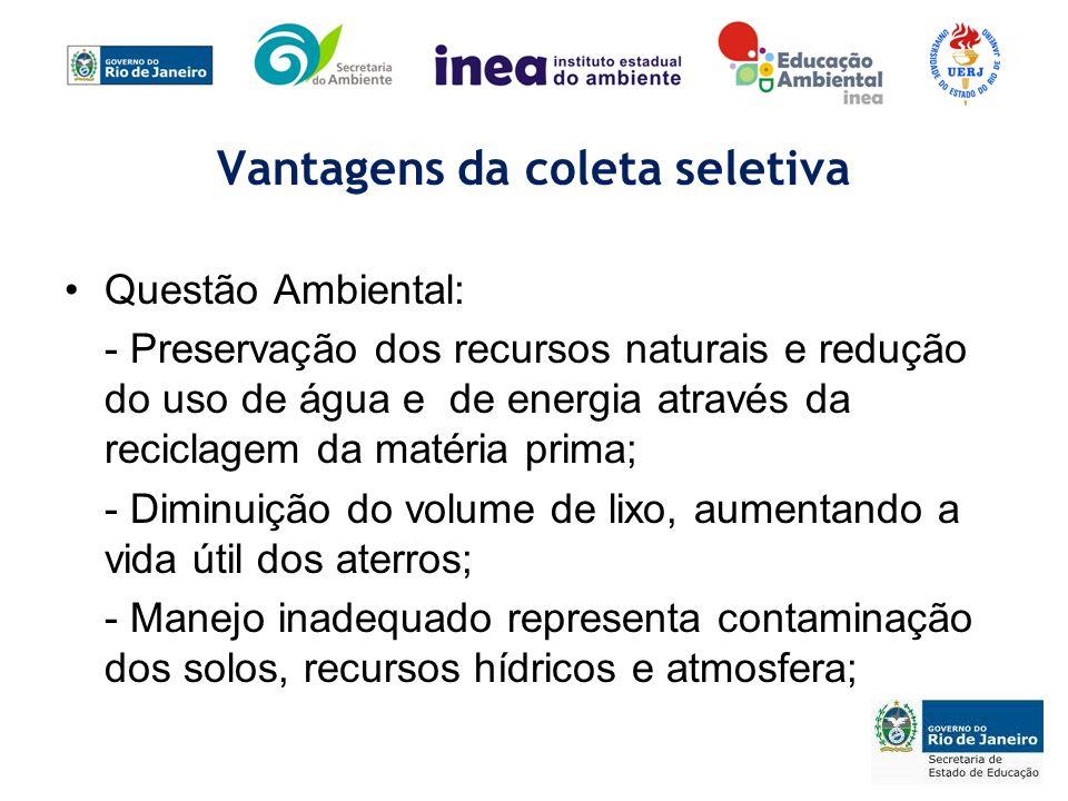 Vantagens da coleta seletiva Questão Ambiental: - Preservação dos recursos naturais e redução do uso de água e de energia através da reciclagem da mat