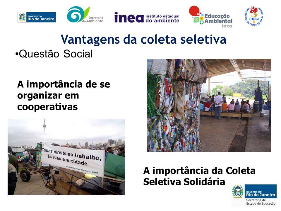 A importância de se organizar em cooperativas A importância da Coleta Seletiva Solidária Vantagens da coleta seletiva Questão Social