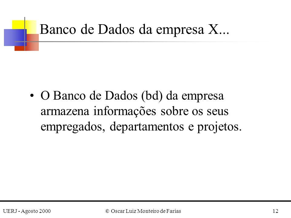 UERJ - Agosto 2000© Oscar Luiz Monteiro de Farias12 O Banco de Dados (bd) da empresa armazena informações sobre os seus empregados, departamentos e projetos.