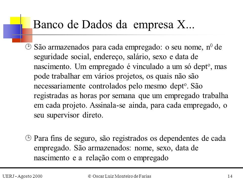 UERJ - Agosto 2000© Oscar Luiz Monteiro de Farias14 ¸São armazenados para cada empregado: o seu nome, n 0 de seguridade social, endereço, salário, sexo e data de nascimento.