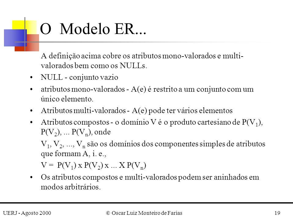 UERJ - Agosto 2000© Oscar Luiz Monteiro de Farias19 A definição acima cobre os atributos mono-valorados e multi- valorados bem como os NULLs.